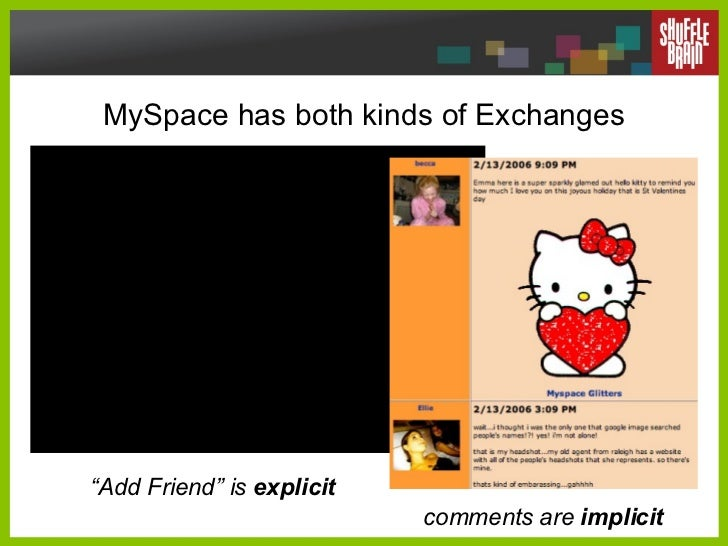 """MySpace has both kinds of Exchanges comments are  implicit """" Add Friend"""" is  explicit"""