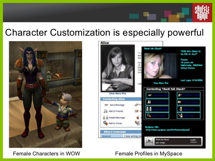Character Customization is especially powerful  Female Characters in WOW Female Profiles in MySpace