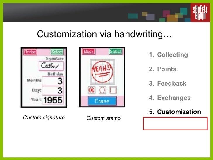 Customization via handwriting… <ul><li>Collecting </li></ul><ul><li>Points </li></ul><ul><li>Feedback </li></ul><ul><li>Ex...