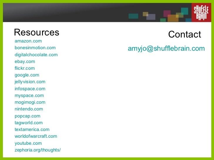 Resources amazon .com bonesinmotion .com digitalchocolate .com ebay .com flickr .com google .com jellyvision .com infospac...
