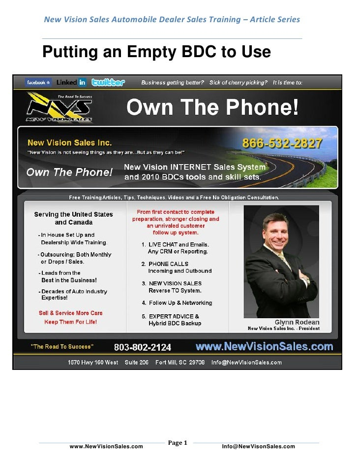 New Vision Sales Automobile Dealer Sales Training – Article Series   Putting an Empty BDC to Use                          ...
