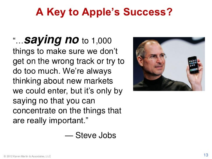 """A Key to Apple's Success?      """"…saying no to 1,000      things to make sure we don't      get on the wrong track or try t..."""