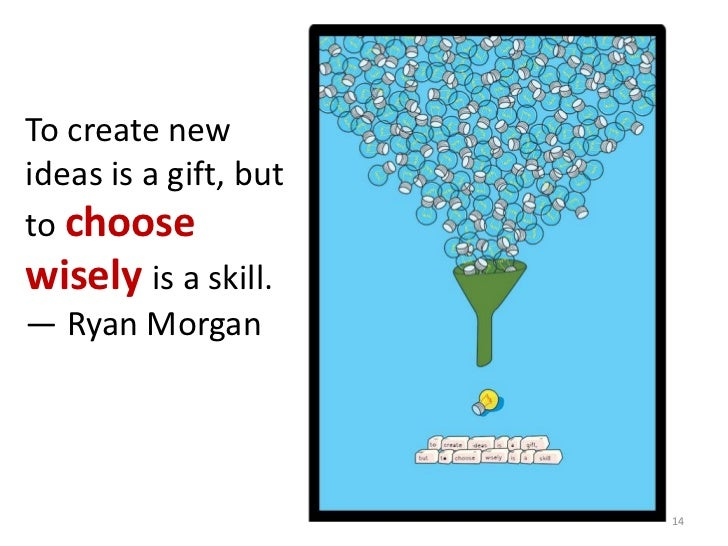 To create newideas is a gift, butto choosewisely is a skill.— Ryan Morgan                       14