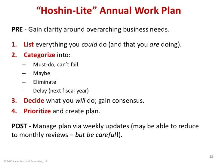 """Hoshin-Lite"" Annual Work Plan      PRE - Gain clarity around overarching business needs.      1. List everything you coul..."