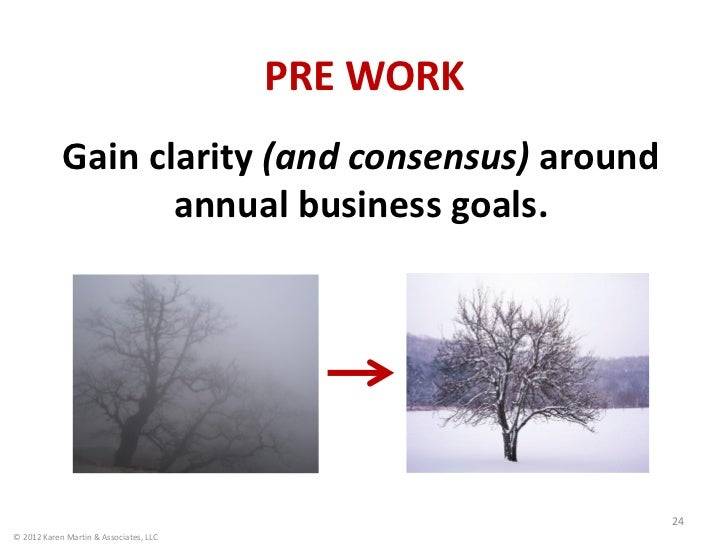 PRE WORK            Gain clarity (and consensus) around                   annual business goals.                          ...