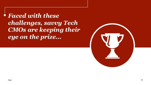 Faced with these challenges, savvy Tech CMOs are keeping their eye on the prize… 12PwC