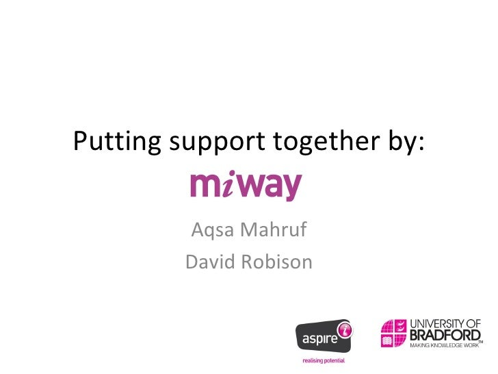 Putting support together by: Aqsa Mahruf David Robison