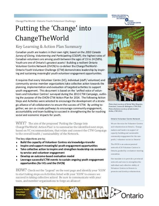 Putting the 'Change' into ChangeTheWorld ChangeTheWorld - Ontario Youth Volunteer Challenge Ontario Volunteer Centre Netwo...