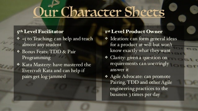 Our Character Sheets 5th Level Facilitator ❖ +5 to Teaching: can help and teach almost any student ❖ Bonus Feats: TDD & Pa...