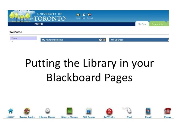 Putting the Library in your Blackboard Pages<br />