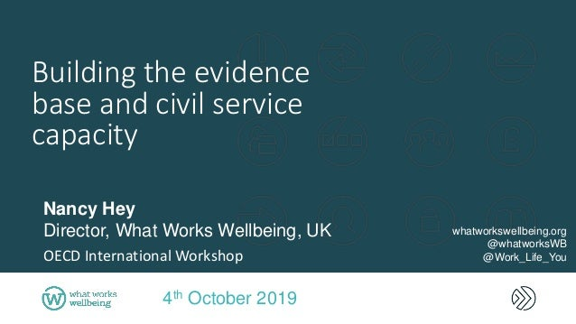 Building the evidence base and civil service capacity 4th October 2019 Nancy Hey Director, What Works Wellbeing, UK OECD I...