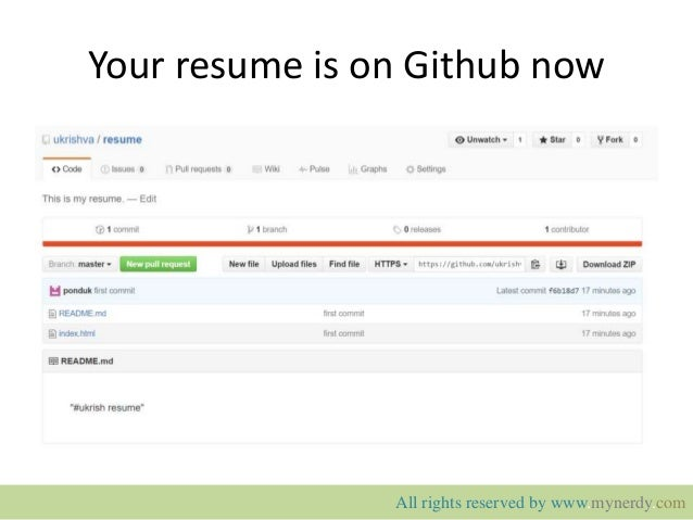 ... 11. Your resume is on Github ...