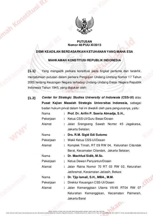 PUTUSAN Nomor 48/PUU-XI/2013 DEMI KEADILAN BERDASARKAN KETUHANAN YANG MAHA ESA MAHKAMAH KONSTITUSI REPUBLIK INDONESIA [1.1...