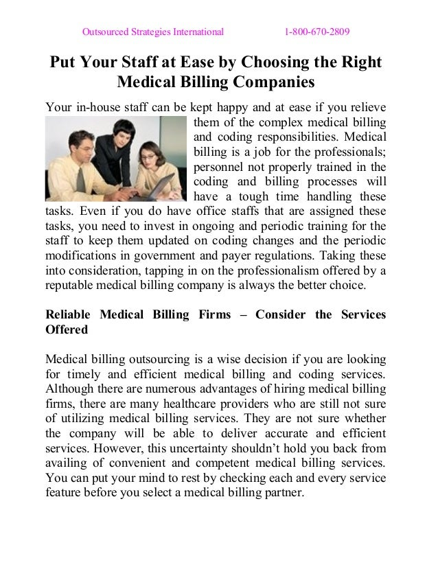 Outsourced Strategies International 1-800-670-2809 Put Your Staff at Ease by Choosing the Right Medical Billing Companies ...
