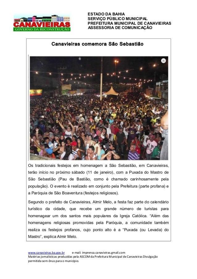 ESTADO DA BAHIA SERVIÇO PÚBLICO MUNICIPAL PREFEITURA MUNICIPAL DE CANAVIEIRAS ASSESSORIA DE COMUNICAÇÃO  Canavieiras comem...