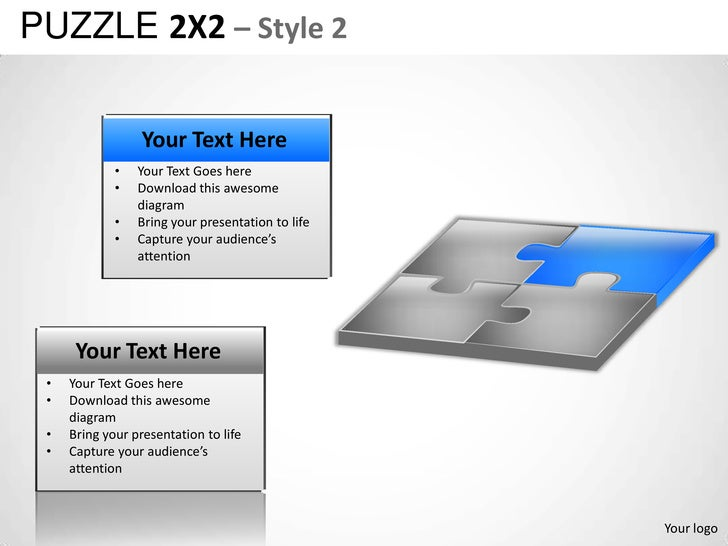 Puzzle 2x2 Style 2 Powerpoint Presentation Templates