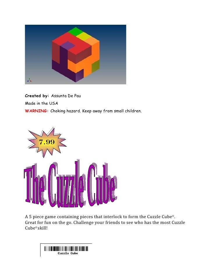 Created by: Assunta De PauMade in the USAWARNING: Choking hazard. Keep away from small children.      7.99A 5 piece game c...