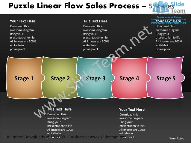 Puzzle Linear Flow Sales Process – 5 StagesYour Text Here                                  Put Text Here                  ...