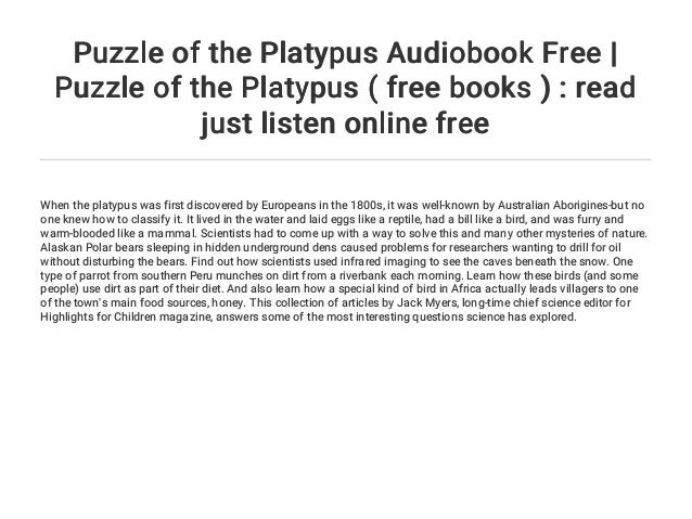 Puzzle of the Platypus Audiobook Free | Puzzle of the Platypus ( fre…