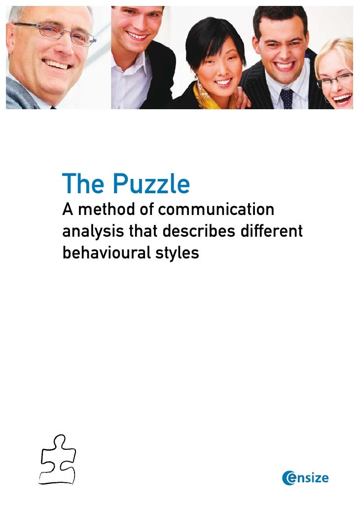 The PuzzleA method of communicationanalysis that describes differentbehavioural styles               © Copyright Ensize   ...
