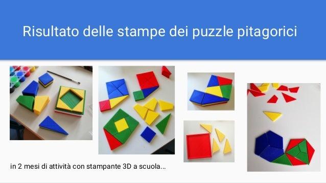 Risultato delle stampe dei puzzle pitagorici in 2 mesi di attività con stampante 3D a scuola...