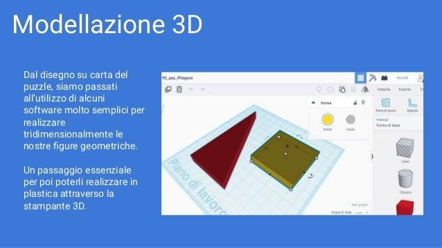 Modellazione 3D Dal disegno su carta del puzzle, siamo passati all'utilizzo di alcuni software molto semplici per realizza...