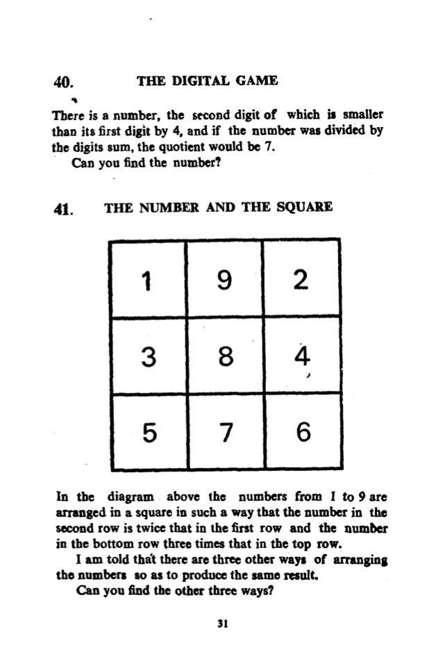 Shakuntala Devi Puzzles With Answers Pdf