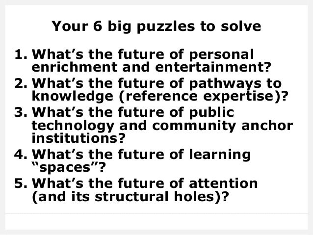 The Puzzles Librarians Need to Solve - Vala 2016 Slide 3