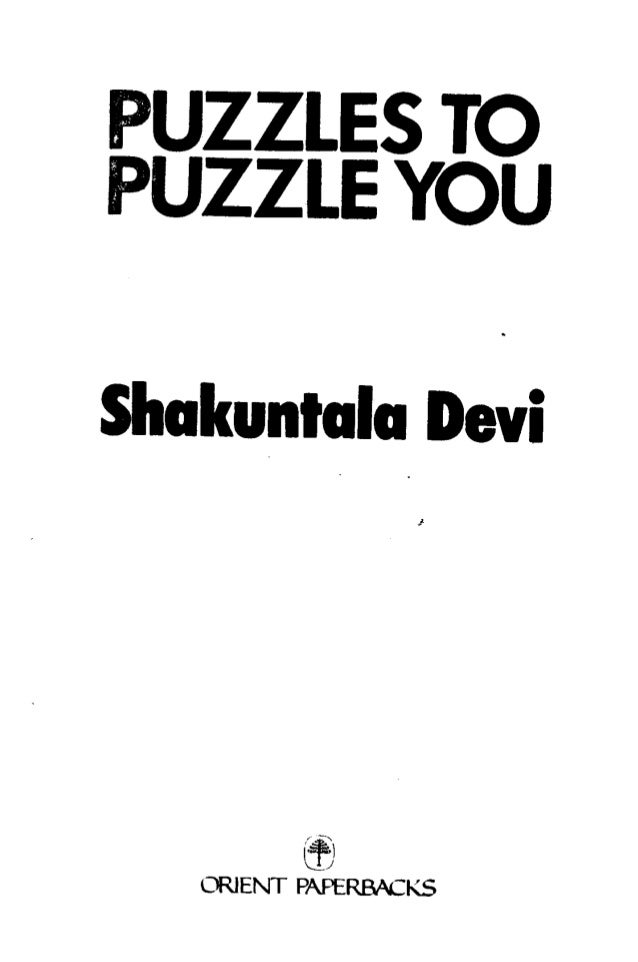 Shakuntala devi puzzles to puzzle you pdf printer