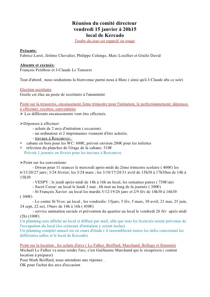 Réunion du comité directeur                                 vendredi 15 janvier à 20h15                                   ...
