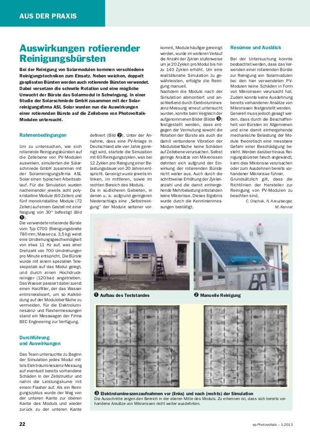 22 ep Photovoltaik – 1-2013 AUS DER PRAXIS Auswirkungen rotierender Reinigungsbürsten Bei der Reinigung von Solarmodulen k...