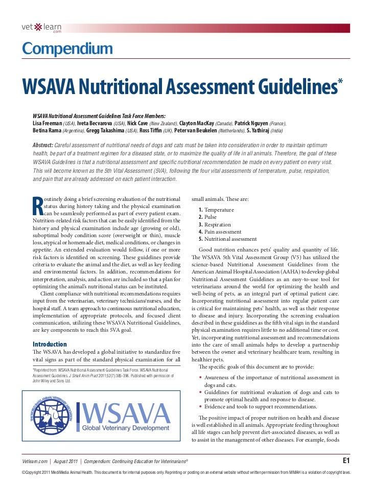 WSAVA Nutritional Assessment Guidelines*      WSAVA Nutritional Assessment Guidelines Task Force Members:      Lisa Freema...
