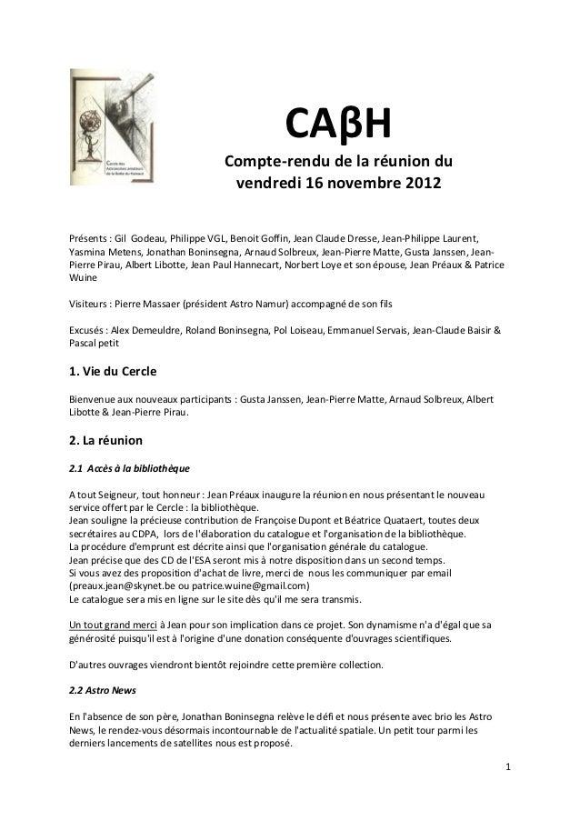 CAβH                                   Compte-rendu de la réunion du                                    vendredi 16 novemb...