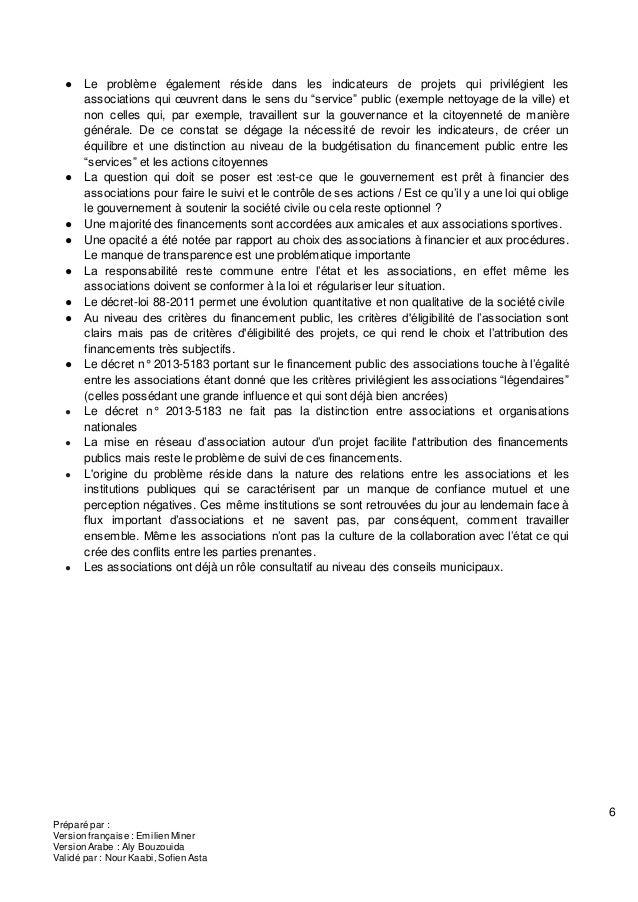 6 Préparé par : Version française : Emilien Miner Version Arabe : Aly Bouzouida Validé par : Nour Kaabi, Sofien Asta ● Le ...