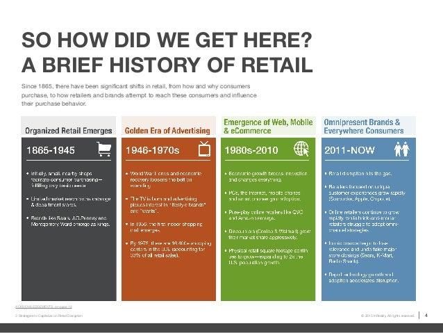 history of retail It's been 20 years since the first online purchase - a sting cd - and consumers now are more comfortable with online retail than ever the drum takes a look at the history of online shopping and asks what's next for e-commerce.