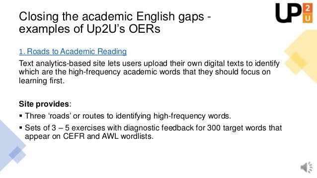 Examples of Up2U's Academic English OERs 2. List of over 50 exercises to teach terms that are the 'building blocks' of cri...