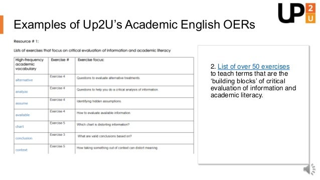 Examples of Up2U's Academic English OERs 3. Instructional video on how to write the Introduction section of an academic pa...