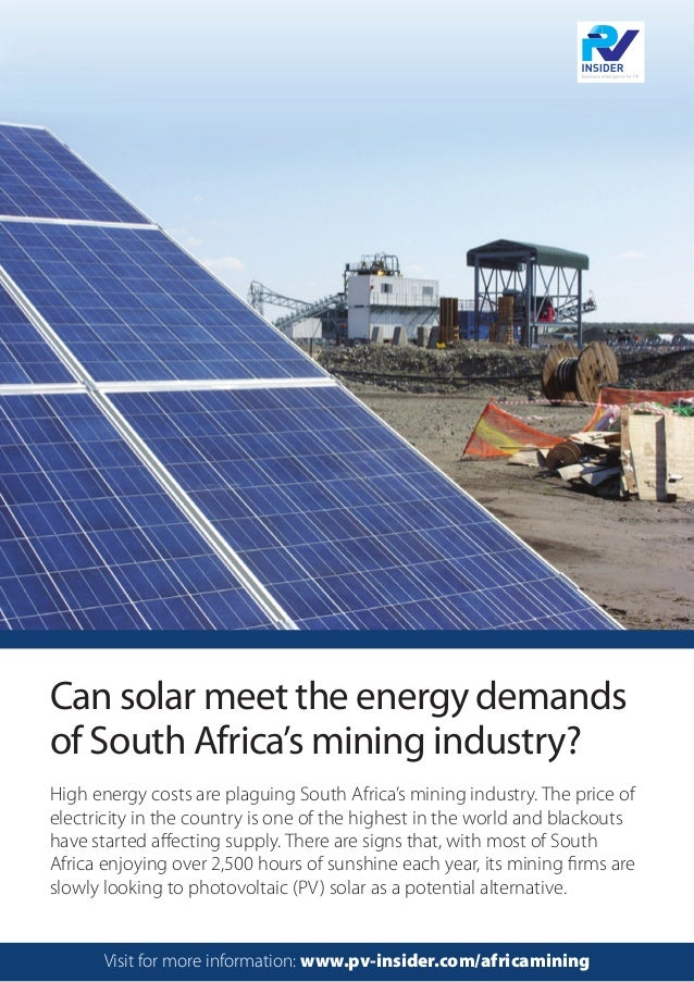 High energy costs are plaguing South Africa's mining industry. The price of electricity in the country is one of the highe...