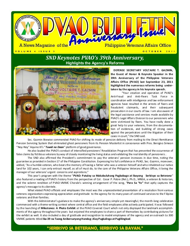 A News Magazine of the                                                    Philippine Veterans Affairs OfficeV O L U M E   ...