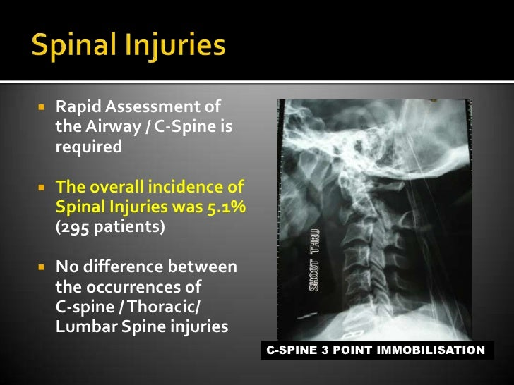 Spinal Injuries<br />Rapid Assessment of  the Airway / C-Spine is required<br />The overall incidence of Spinal Injuries w...