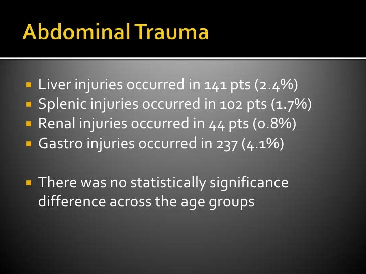 Abdominal Trauma<br />Liver injuries occurred in 141 pts (2.4%)<br />Splenic injuries occurred in 102 pts (1.7%)<br />Rena...