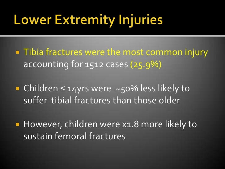 Compound pelvic fractures up to 40%</li></li></ul><li>Lower Extremity Injuries<br />Tibia fractures were the most common ...