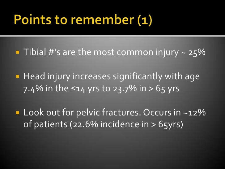 Points to remember (1)<br />Tibial #'s are the most common injury ~ 25%<br />Head injury increases significantly with age ...