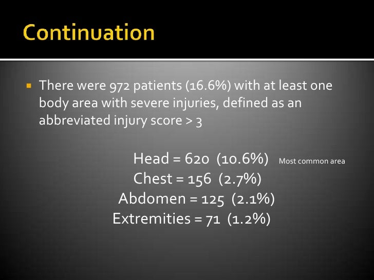Continuation<br />There were 972 patients (16.6%) with at least one body area with severe injuries, defined as an abbrevi...