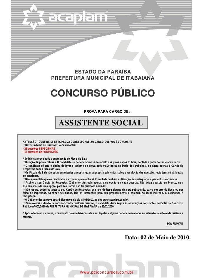 ESTADO DA PARAÍBA                        PREFEITURA MUNICIPAL DE ITABAIANA                       CONCURSO PÚBLICO         ...