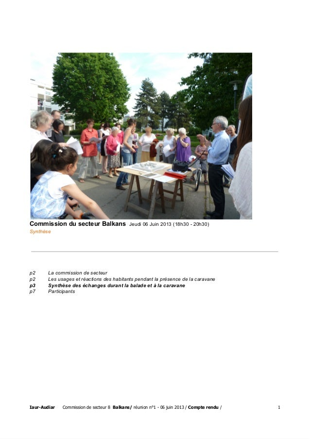 CommissiondusecteurBalkansJeudi06Juin2013(18h3020h30) Synthèse p2 Lacommissiondesecteur p2 Lesusagesetré...