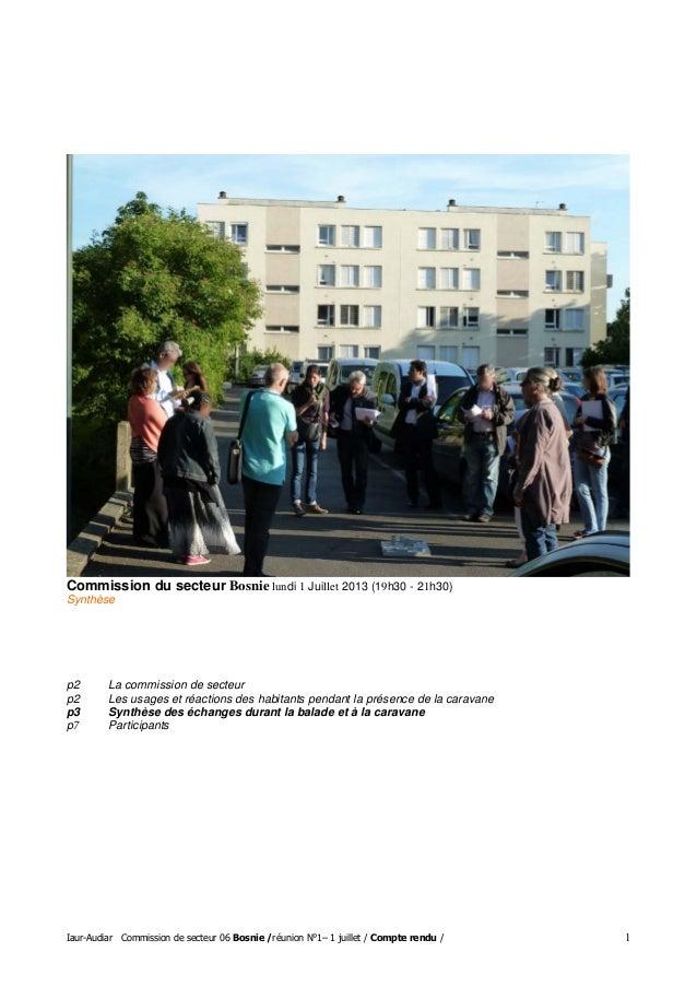 Iaur-Audiar Commission de secteur 06 Bosnie /réunion N°1– 1 juillet / Compte rendu / 1 Commission du secteur Bosnie lundi ...