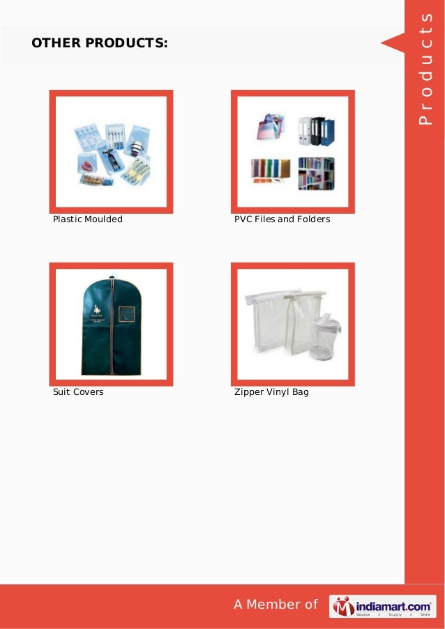 A Member of OTHER PRODUCTS: Plastic Moulded PVC Files and Folders Suit Covers Zipper Vinyl Bag Products