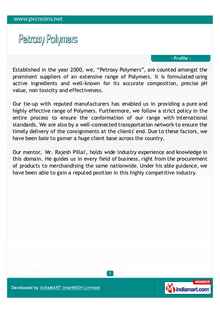 """- Profile -Established in the year 2000, we, """"Petroxy Polymers"""", are counted amongst theprominent suppliers of an extensiv..."""