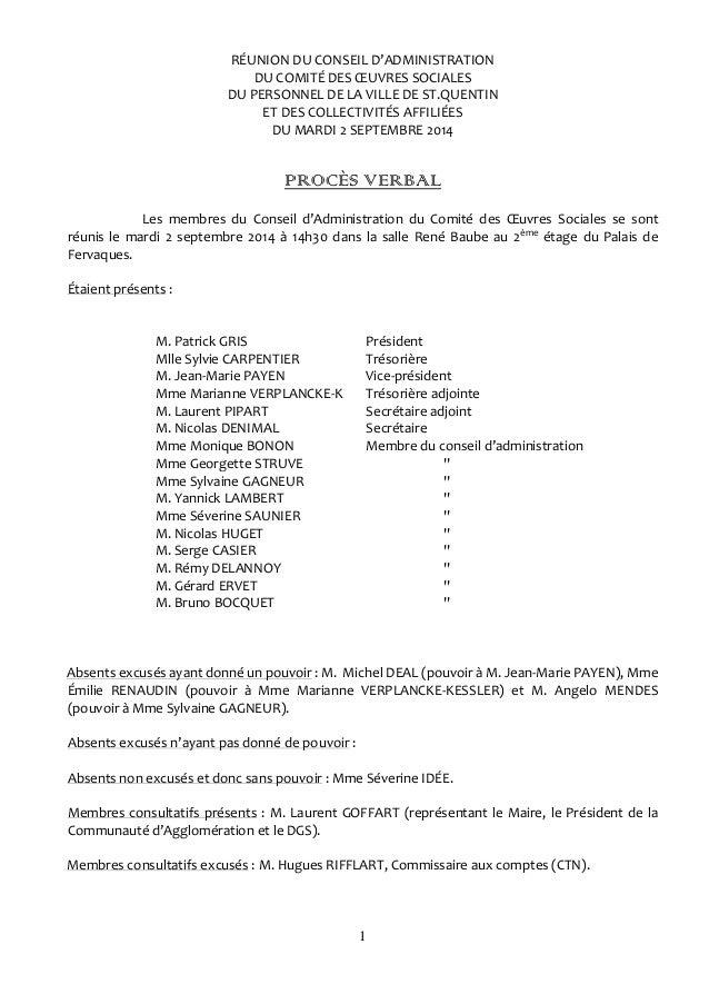 1 RÉUNION DU CONSEIL D'ADMINISTRATION DU COMITÉ DES ŒUVRES SOCIALES DU PERSONNEL DE LA VILLE DE ST.QUENTIN ET DES COLLECTI...